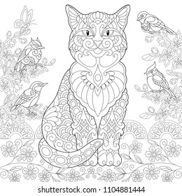 Cat and spring birds in the garden. Coloring Page. Colouring picture. Adult Coloring Book idea. Freehand sketch drawing. Vector illustration.