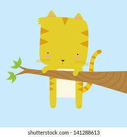 Cat stuck on a tree branch. This is an Ai 10 file that does not contain any transparencies or blends but does contain gradients. All layers are grouped and named for easy editing.