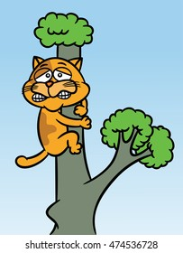 Cat Stuck up the Tree Cartoon Illustration