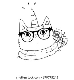 Cat in sunglasses with a bow ,cute cat, hand drawn graphic, animal illustration,coloring book for children