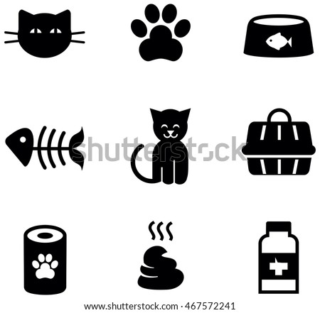 Cat Symbols Icons Stock Vector Royalty Free 467572241 Shutterstock