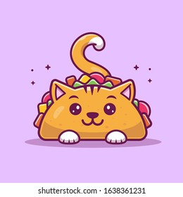 Cat Taco Mascot Cartoon Vector Icon Illustration. Cute Cat Taco Character. Animal And Food Icon Concept White Isolated. Flat Cartoon Style Suitable for Web Landing Page, Banner, Flyer, Sticker, Card