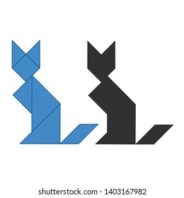 cat Tangram. Traditional Chinese dissection puzzle, seven tiling pieces - geometric shapes: triangles, square rhombus , parallelogram. Board game for kids that helps to develop analytical skills