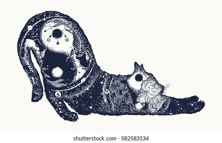 Cat tattoo art. Meditation, philosophy, harmony yin and yang symbol. Magical cat animals double exposure t-shirt design