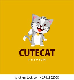 cat thumb up mascot character logo vector icon illustration