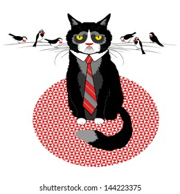 cat tie with birds in bows on his whiskers, negotiation, business discussion, angry boss