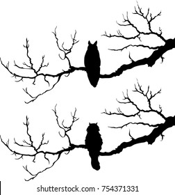 the cat in the tree. owl on the tree. silhouette