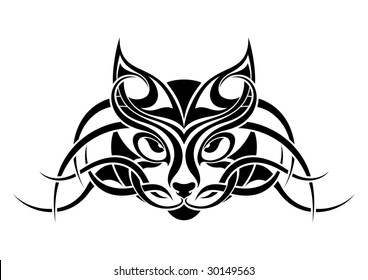 Cat tribal tattoo design
