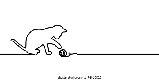 Cat with tuft of wool Animals day Footsteps signs Vector kitty lovers icon Cats symbol Kitten footprints Pet paw steps Love puppy print Line draw paws footprints Meow, dog, mouse, fishbone silhouette