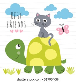 cat and turtle best friends vector illustration