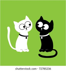 Cat twins. Vector illustration