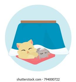 Cat Under Kotatsu