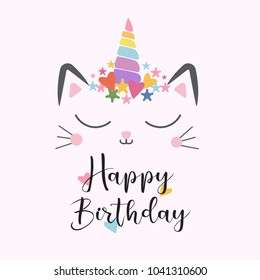 cat unicorn cute happy birthday illustration