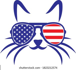 Cat with US flag sunglasses