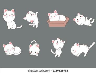 cat vector cartoon set,cat action collection