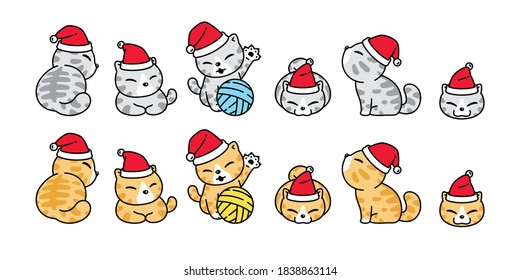 cat vector Christmas Santa Claus hat icon calico kitten yarn ball logo symbol character cartoon illustration design
