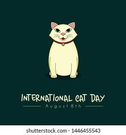 Cat Vector Design with Icon for International Cat Day on 8th of August