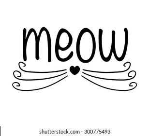 Cat vector design.T-shirt Graphic.Black and white.Meow slogan.