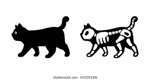 cat vector Halloween icon kitten skull logo bone skeleton symbol cartoon character illustration doodle design