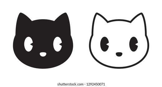 cat vector head calico black white kitten icon cartoon character illustration