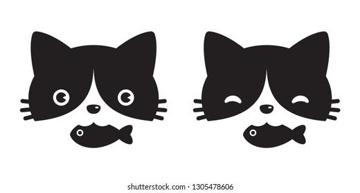 cat vector head icon logo kitten calico fish cartoon character illustration