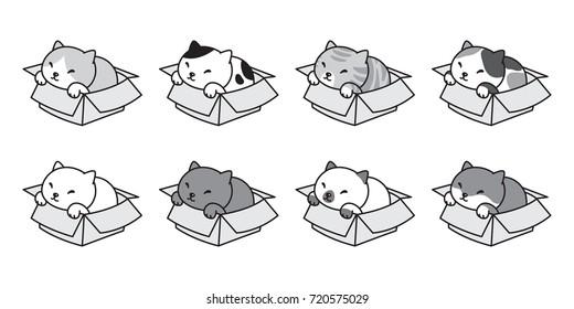 cat vector icon logo breed in the box kitten vector doodle illustration clip art
