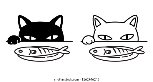 cat vector icon logo paw fish black kitten calico food cartoon character illustration doodle