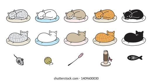 cat vector kitten calico icon logo sleeping pillow symbol cartoon character doodle illustration design