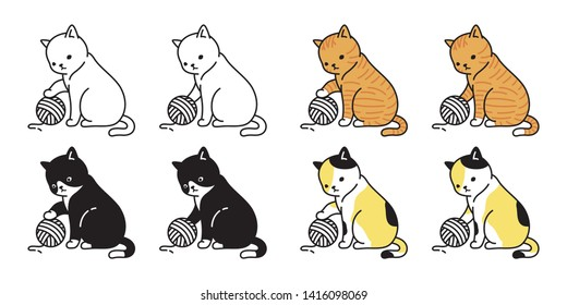 cat vector kitten calico icon logo yarn ball symbol cartoon character illustration doodle design