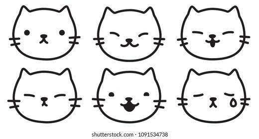 cat vector kitten logo icon illustration character doodle cartoon symbol