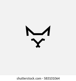 Cat vector logo in a flat line style