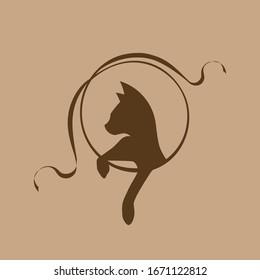 cat vector logo kitten stylization symbol design illustration pets
