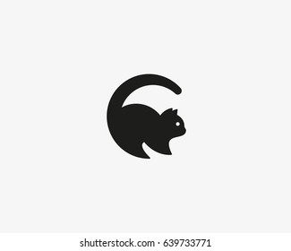 Cat vector logo. Pet letter C logotype