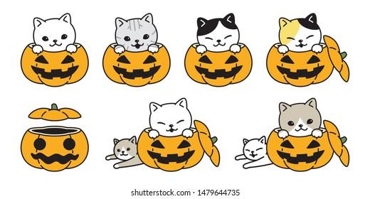 cat vector pumpkin Halloween icon kitten calico breed logo symbol character cartoon illustration doodle design