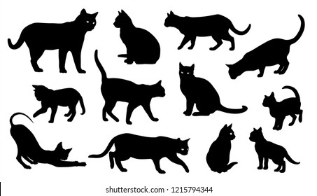 Cat vector silhouettes set Isolated On White Background, cats in different poses