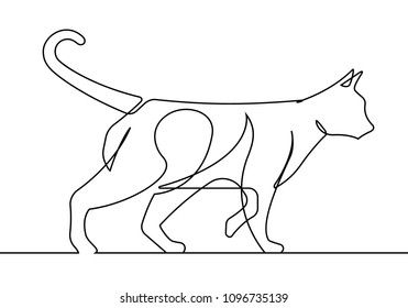 Cat Walking Continuous Line Vector