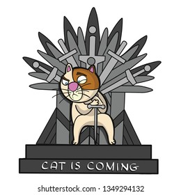 Cat warrior sitting on an iron throne