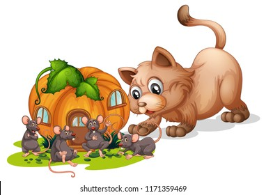 A cat watching at rats illustration