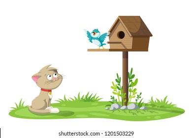 A cat is watching a singing bird on a birdhouse
