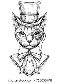 Cat wearing cylinder top hat and monocle. Hipster style hand drawn vector illustration