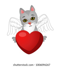 Cat with wings holds red heart. Vector illustration.