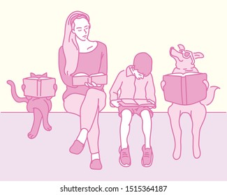 Cat, woman, boy, dog Sitting together and reading a book. hand drawn style vector design illustrations.