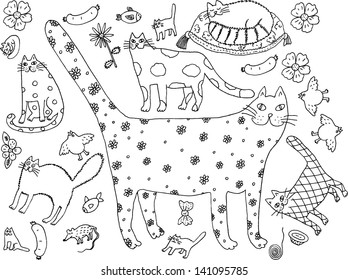Cat world black and white. Hand drawn illustration.