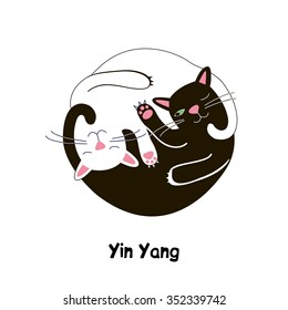 cat yin yang, vector graphics