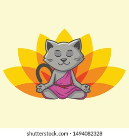 cat yoga logo design template with lotus and cat guru