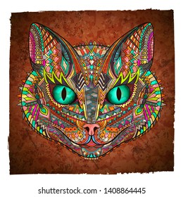 Cat zentangle. Animal vector illustration. Bengal. Savannah. Tribal. Wild. Cat head zentangle ornament. Pet. Kitten. Ethnic ornament. Cat face. Coloring book page.