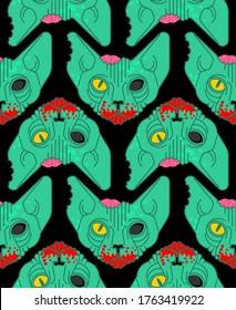 Cat zombie pattern seamless. Pet green monster background. vector texture