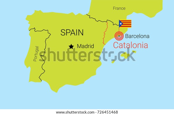 Catalan Map Of Spain.Catalan Conflict Map Spain Catalan Capital Stock Vector