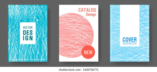 Catalog cover vector templates. Blue, teal and coral color waves texture. Marketing catalog trendy layouts design set. Company strategy book covers. Buzzing flux ripple movement background.