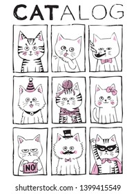 A catalog of cute cats illustration series